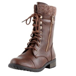 Lace Up Knit Ankle Cuff Combat Boots: $15
